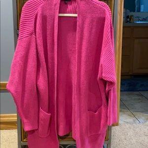 Express-Pink Cardigan Pocket Sweater-EUC-S